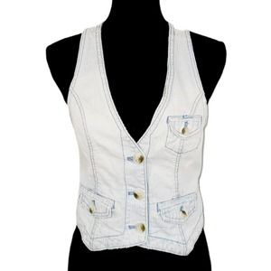 American Eagle Outfitters Striped Denim Vest